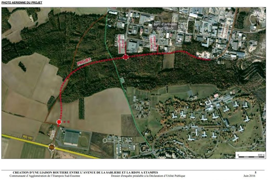 plan du projet de déviation de la RN191 par Brières les Scellés