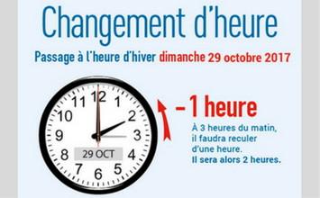 Passage l 39 heure d 39 hiver le dimanche 29 octobre 2017 - Changement heure d hiver 2017 ...