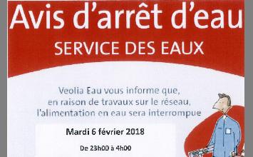 Avis arret d'eau à Brières le 6 fevrier 2018