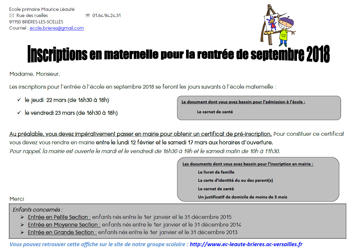 Inscriptions en maternelle à l'école de Brières les Scellés pour la rentrée de Septembre 2018