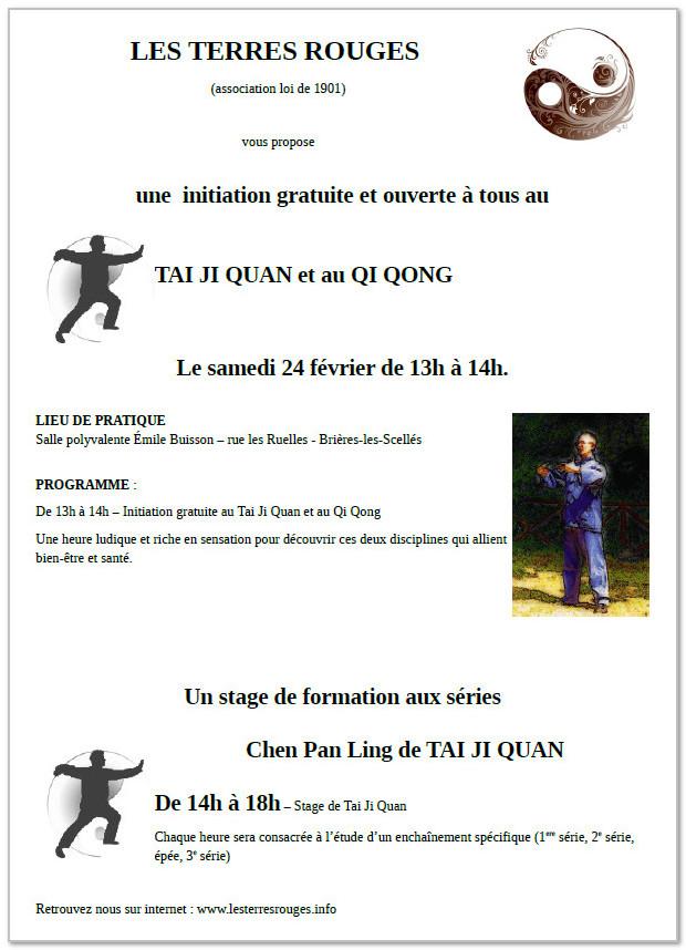 programme du stage de tai chi à Brières